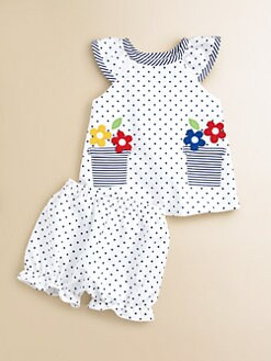 Florence Eiseman - Infant's Dotted Flower-Pot Dress and Bloomer Set