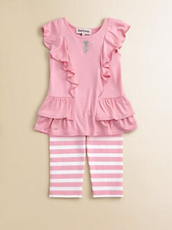 Juicy Couture - Infant's Two-Piece Ruffled Tunic & Striped Leggings Set