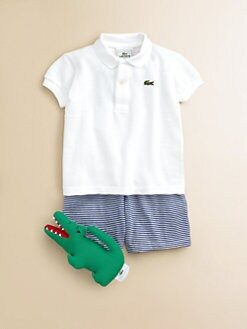 Lacoste - Infant's Three-Piece Polo Shirt, Shorts & Stuffed Croc Gift Set