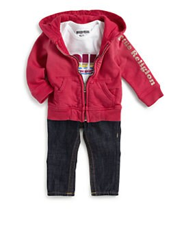 True Religion - Infant's Three-Piece Glitter Hoodie, Bodysuit & Baby Jack Jeans Set