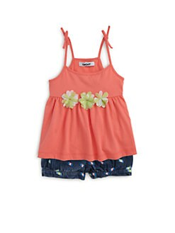 DKNY - Infant's Two-Piece Ikat Tie Tank Top & Printed Denim Bubble Shorts Set