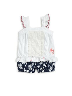 DKNY - Infant's Two-Piece Lanai Crochet Tank Top & Printed Denim Bubble Shorts Set