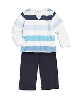 Splendid - Infant's Layered-Look  Rugby Stripe Top & Pants Set