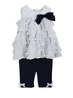 Miniclasix - Infant's Two-Piece Tiered Polka Dot Top & Leggings Set
