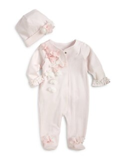 Miniclasix - Infant's Two-Piece Scalloped Floral Footie & Hat Set