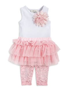 Miniclasix - Infant's Two-Piece Tiered Mesh Top & Lace Leggings Set