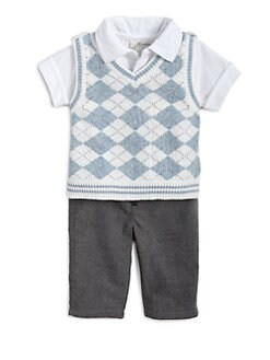 Miniclasix - Infant's Three-Piece Argyle Sweater Vest, Shirt & Pants Set