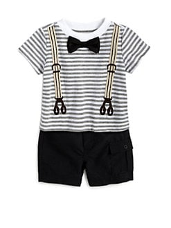 Miniclasix - Infant's Two-Piece Striped Suspender Tee & Woven Shorts Set