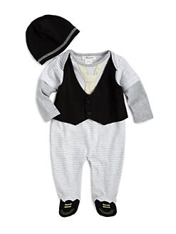 Miniclasix - Infant's Striped Vest Footie & Hat Set