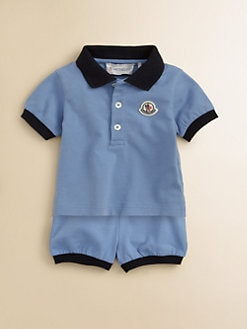 Moncler - Infant's Two Piece Mesh Polo Shirt & Shorts Set