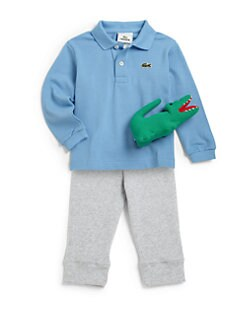 Lacoste - Infant's Three-Piece Polo Shirt, Pants & Plush Croc Gift Set