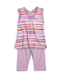 Splendid - Infant's Two-Piece Painterly Striped Tunic & Leggings Set