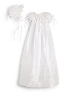 Isabel Garreton - Infant's Silk Garland Christening Gown & Bonnet Set