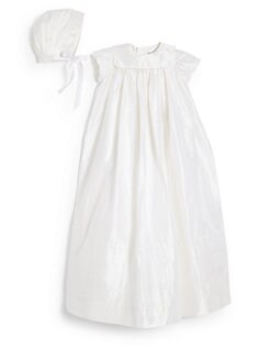 Isabel Garreton - Infant's Traditional Silk Christening Dress & Bonnet