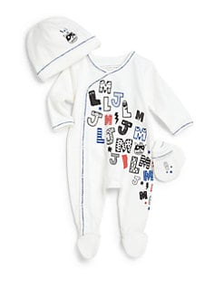 Little Marc Jacobs - Infant's Three-Piece Hat, Footie & Mittens Set