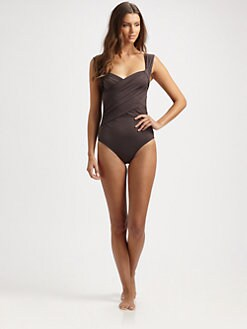 Badgley Mischka - One-Piece Wide-Strap Swimsuit