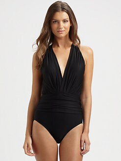 Badgley Mischka - One-Piece Plunge-Front Swimsuit