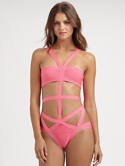 Herve Leger - One-Piece Cutout Bandage Swimsuit