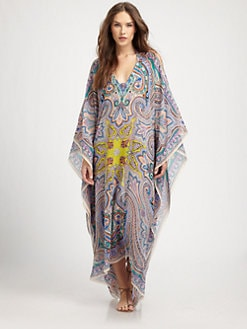 Etro - Silk Paisley Cold-Shoulder Caftan
