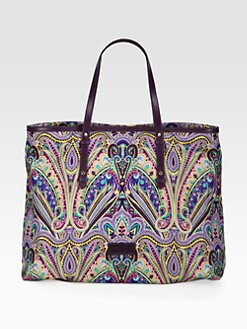 Etro - Purple Border Paisley Eastwest Tote Bag