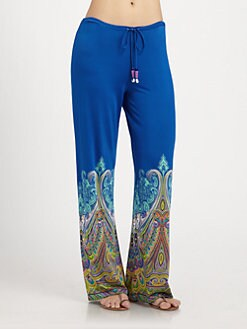 Etro - Blue-Border Paisley Pants