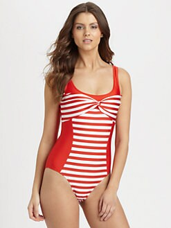 Oscar de la Renta - One-Piece Striped-Front Swimsuit
