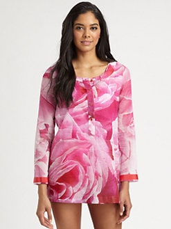 Oscar de la Renta - Rose-Print Cotton Tunic