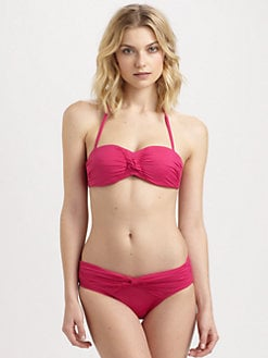 Badgley Mischka - Ruched-Center Bandeau Bikini Top