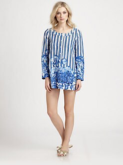 Oscar de la Renta - Lotus Stripe Cotton Voile Tunic