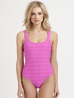 Oscar de la Renta - One-Piece Cloque Tank Swimsuit