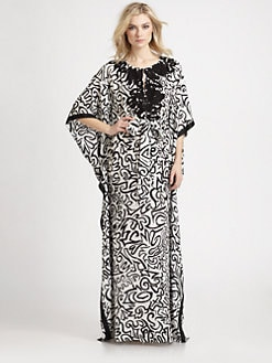 Oscar de la Renta - Silk Crepe de Chine Print Caftan