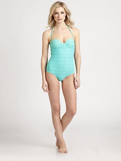 Oscar de la Renta - One-Piece Capri Cloque Swimsuit