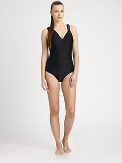 Badgley Mischka - Draped One-Piece Swimsuit