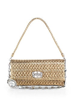 Miu Miu - Embellished Metallic Shoulder Bag