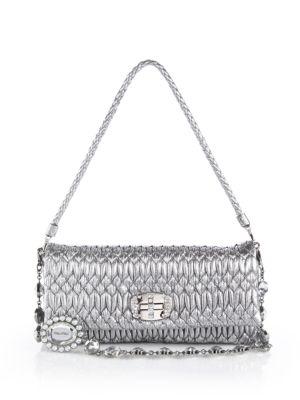Nappa Crystal Embellished Metallic Leather Shoulder Bag