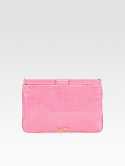 Miu Miu - St. Coco Lux Crocodile Embossed Leather Clutch