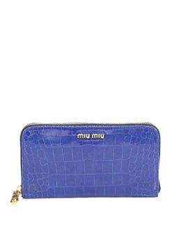 Miu Miu - St. Coco Lux Crocodile Embossed Leather Zip-Around Wallet