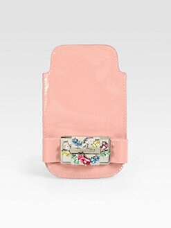 Miu Miu - Embellished Patent Leather Phone Sleeve