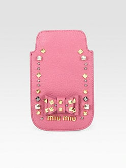 Miu Miu - Madras Embellished Leather Case For iPhone