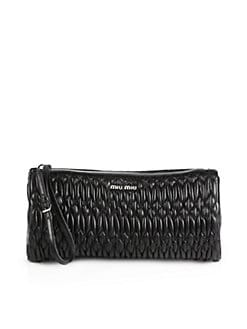 Miu Miu - Puckered Leather Wristlet
