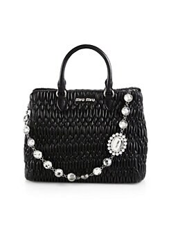 Miu Miu - Jeweled-Strap Pucker Leather Tote