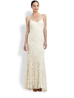 Theia - Petal-Detailed Crepe Gown