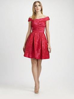 Theia - Taffeta Off-The-Shoulder Dress