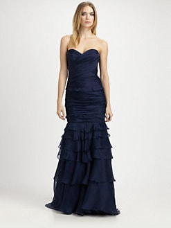 Theia - Strapless Silk Organza Gown