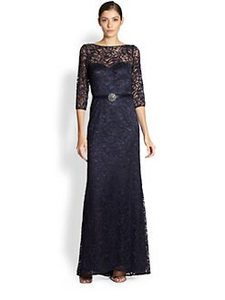 Theia - Belted Lace Gown