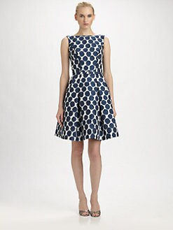 Theia - Dot Jacquard Belted Dress