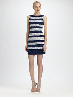 Theia - Sequined Stripe Dress