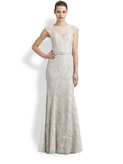 Theia - Lace Fit-And-Flare Gown