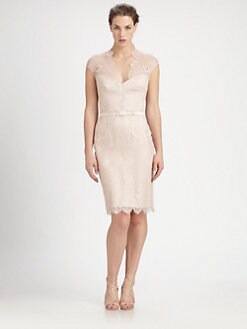 Theia - Belted Lace Dress