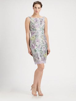 Theia - Metallic Printed Tweed Dress
